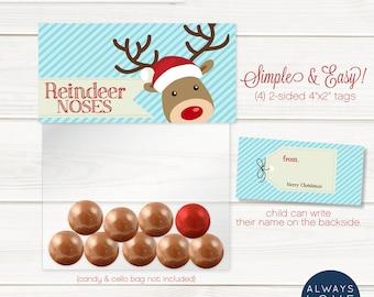 Reindeer Noses Treatbag Topper, Reindeer Favor, Christmas Tag, Christmas Favor, Holiday Treats, Printable, Digital File