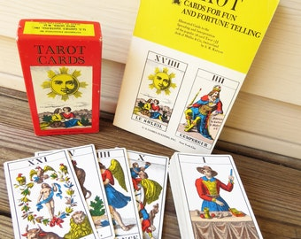 Vintage French Tarot Deck and Book 1970 Mueller Tarot 1JJ Made in Switzerland  Vintage Tarot deck and book-