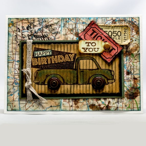 Road Trip Birthday Card, Paper Handmade Collage Greeting Card