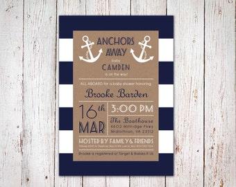 Anchors Away - Nautical Baby Shower Invitation
