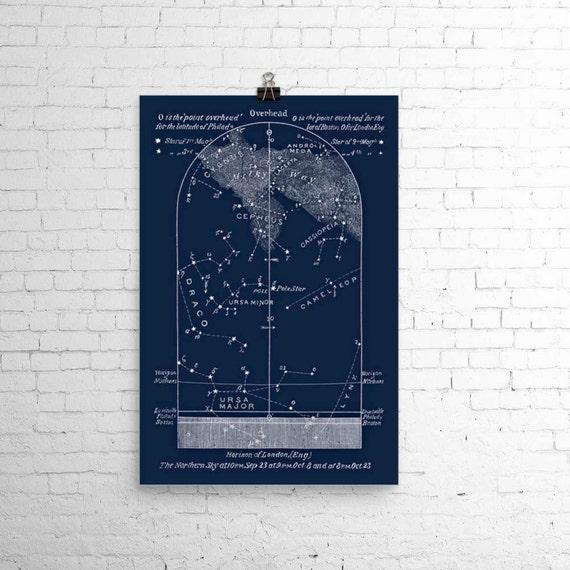 Wedding Star Chart: Items Similar To October Astronomy Print Star Map Sky