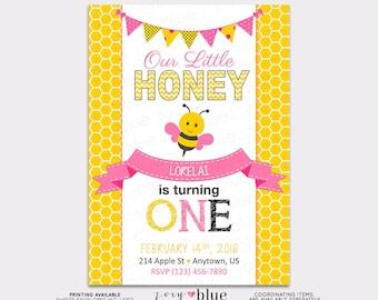 Little Honey Bee Printable Birthday Invitation (Yellow Honeycomb 1st First Birthday Girl) - Digital File