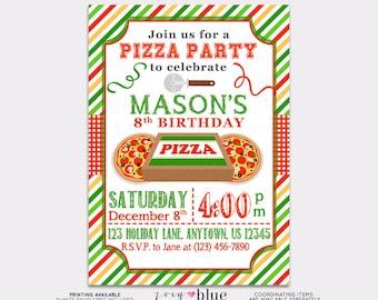 Pizza Party Birthday Invitation Pizza Birthday Invitation Typographic Modern Invitation Striped Green Red Birthday Printable Digital File