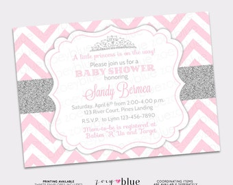 princess baby shower invitation pink silver chevron little princess invitation girl baby shower invite printable