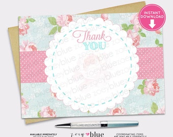 Shabby Chic Blank Thank You Card Vintage Floral Pink Green Blue Girl Baby Shower Birthday INSTANT DOWNLOAD Printable Digital File