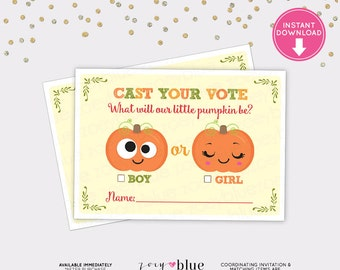 Pumpkin Gender Reveal Voting Card- Pumpkins Baby Shower Games - Gender Guess Printable DIY Printable File INSTANT DOWNLOAD