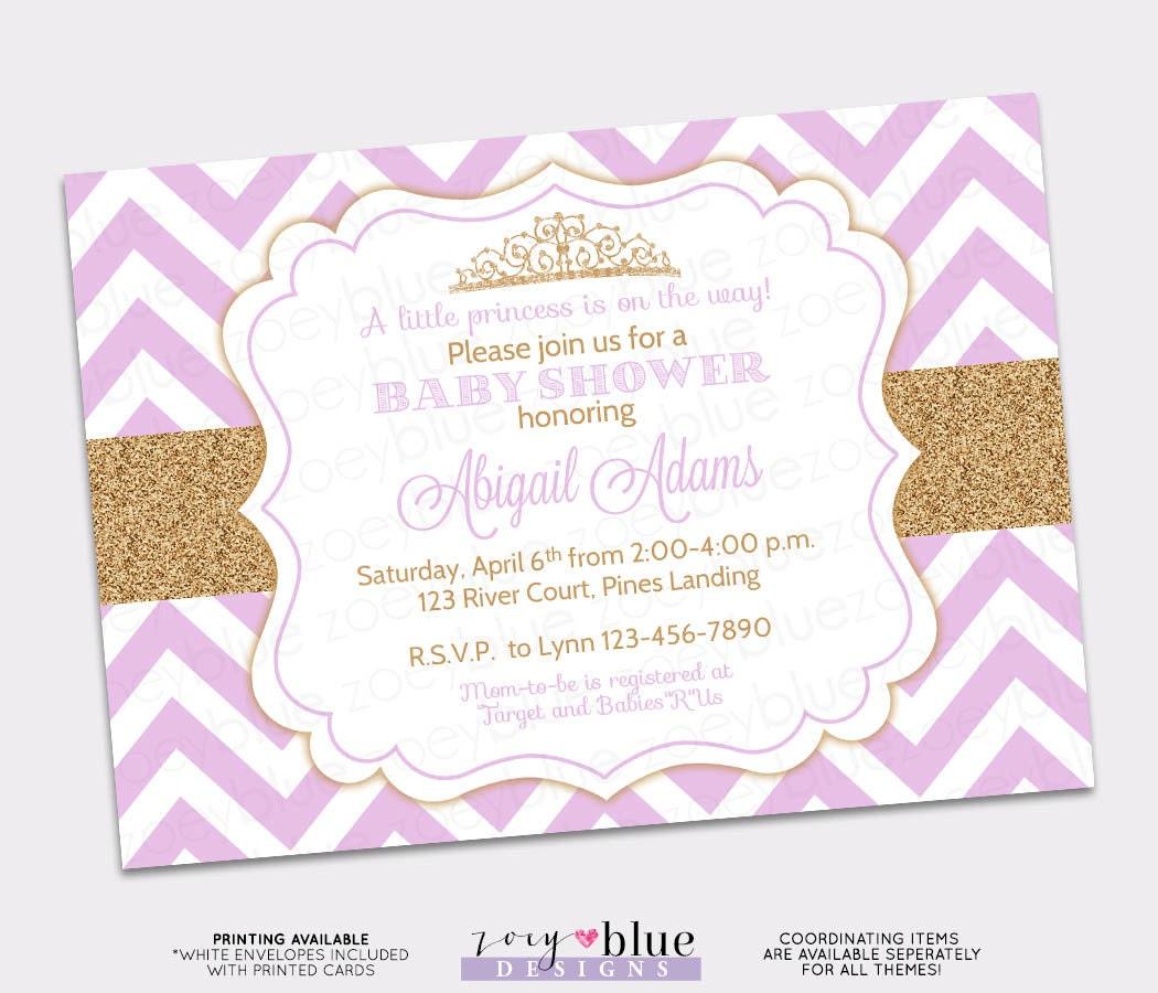Princess Baby Shower Invitation Gold Glitter Purple Chevron