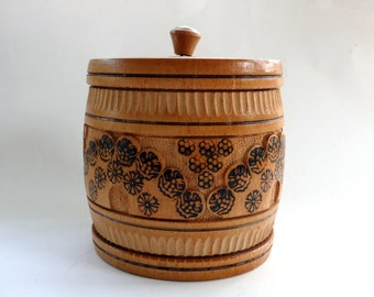 Vintage French Hand Carved Wooden Box with Removable Lid, Wooden Jar, Wood Pot, Vintage Wooden Box, Round Wooden Storage Box, Wooden Barrel