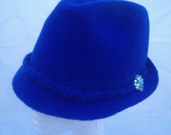 Women Trilby Hat Royal Blue Furfelt Autumn Winter Custom Hair Accessories Handmade Millinery Fedora Swarovski Crystals Headwear Headpiece