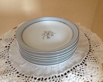 "Vintage  Set of (6) Beautiful Noritake 5558  ""Bluebell"" Pattern Bread Plates- 6 1/4"""