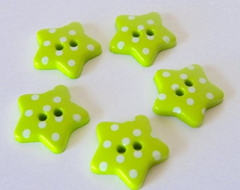 10 x 18mm Lime Green Polka Dot Star Buttons