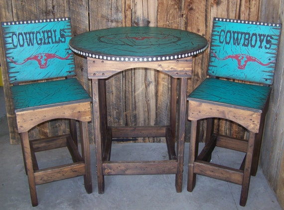 Items Similar To Rustic Western Round Kitchen Table And