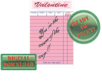 Diner Check Valentine Card Cream of the Crop Pink Party Tag Scrapbook File