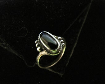 Black Onyx Oval and Sterling Silver Ring