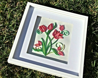 Quilled tulips in shadow box frame 12x12