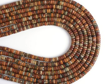 """0542 4x2mm Multi-color picasso jasper heishi loose beads 16"""""""