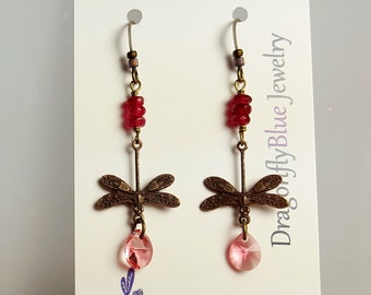 Blushing Pink Crystal Dragonfly Dangles