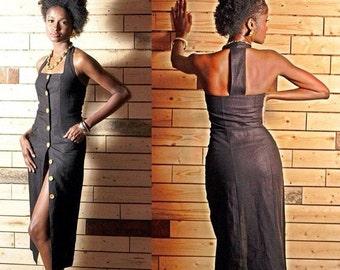 SALE Classic Vintage Black Linen Wiggle Dress XSmall