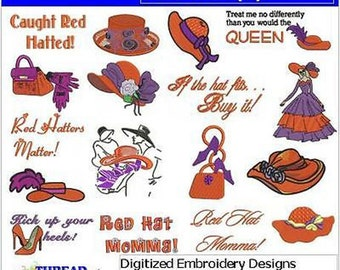 Embroidery Design CD - Red Hat(1) - 17 Designs - 9 Formats - Threadart