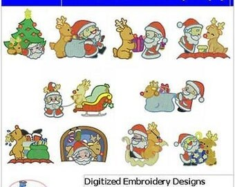 Embroidery Design CD - Santa and Rudolph(1) - 10 Designs - 9 Formats - Threadart