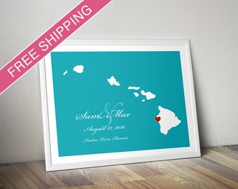Personalized Hawaii Wedding Gift : Custom Wedding Location and State Map Print - Wedding Guest Book Poster
