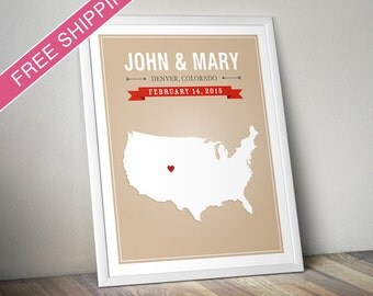 Personalized USA Wedding Gift - Custom United States Map Art Print, Wedding Guest Book, Engagement Gift, Mid Century Modern