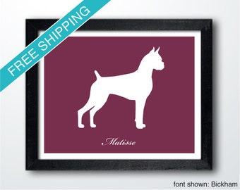 Personalized Boxer Silhouette Print with Custom Name (cropped version 1) - dog art, dog gift