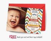 Little man birthday invitation, mustache birthday invitation, chevron invitation, party invitation printable, FREE thank you card