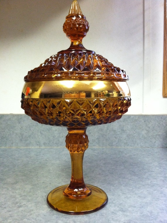 Vintage Amber Cut Glass Candy Dish