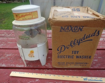 Toy washing machine,Naxon Dollyduds 1940s working model,Includes the original box