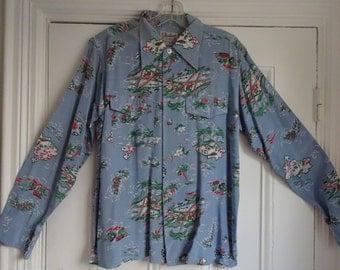 50's Hawaiian Rayon Shirt Aloha Palm Trees Medium
