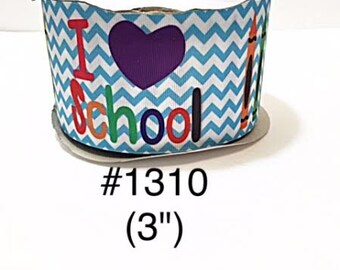 "2/3/5 yard - 3"" I Love School Crayon Blue Zig Zag on White Jumbo Grosgrain Ribbon Cheer Bow"