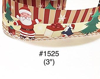 "2/3/5 yard - 3"" Christmas Santa, Penguin & Reindeer with Christmas Tree Jumbo Grosgrain Ribbon Hair Bow Cheer Bow"