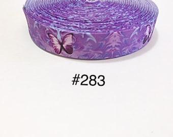 "3 or 5 yard - 1"" Purple Butterfly inspired Grosgrain Ribbon Hair bow"