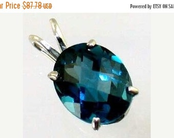 Valentines Sale 30% Off, SP002, 10x8mm London Blue Topaz, 925 Sterling Silver Pendant