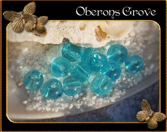 4mm 50 smooth round Glass Beads aqua blue