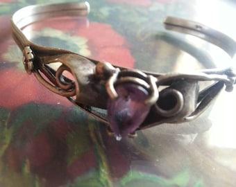 Silver and Amethyst  Tear Drop Bracelet Cuff