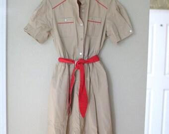 vintage tan & red belted pocket scout dress medium
