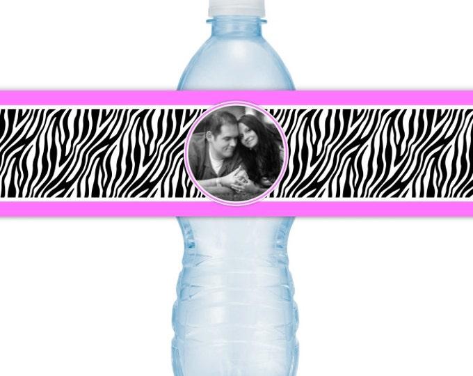 Wedding Photo Water Bottle Labels - CUSTOM Printable Zebra Print Water Bottle Labels, YOU print, you cut, DIY water bottle labels