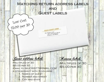Custom Return address labels and Guest address labels