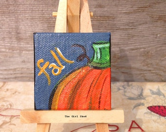 Mini Painting on Canvas-Pumpkin