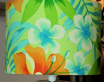 Tropical fabric lampshade with Tommy Bahama print.