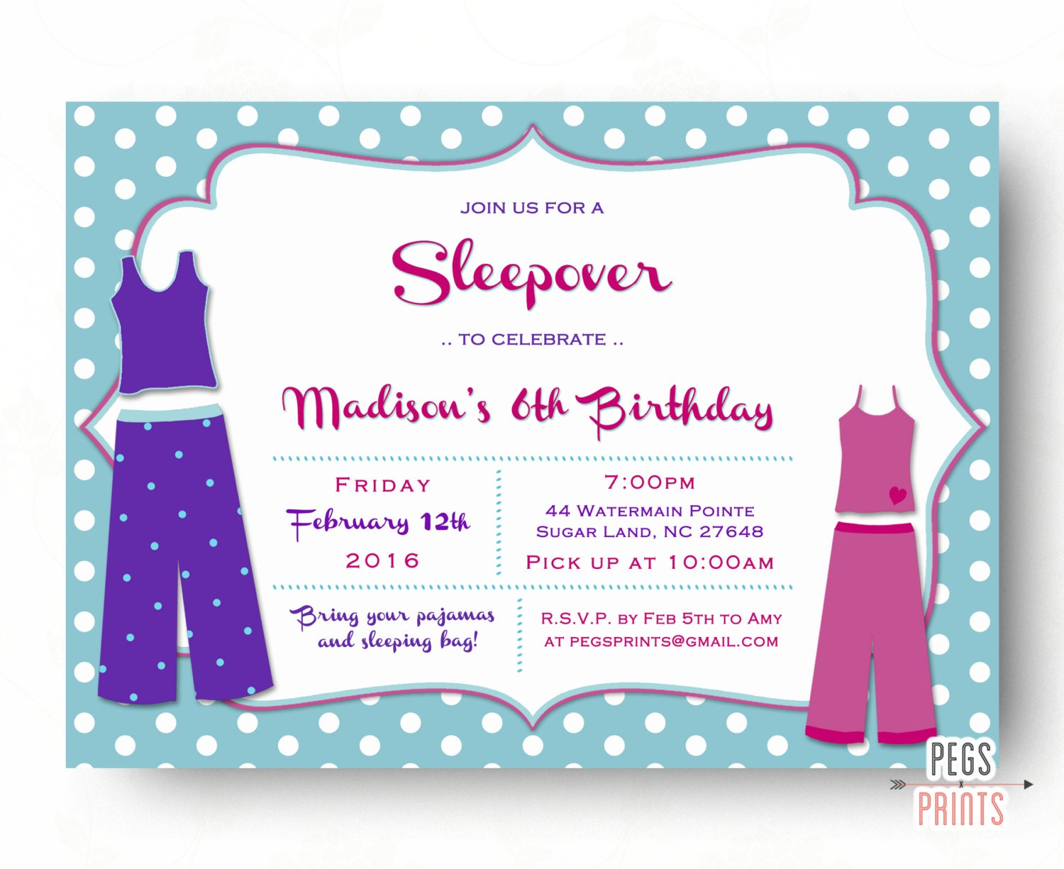 Sleepover Invitation Printable Pajama Party Invitation