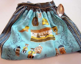 Vintage kitchen apron, half apron, kitchen apron, vintage striped apron, vintage apron