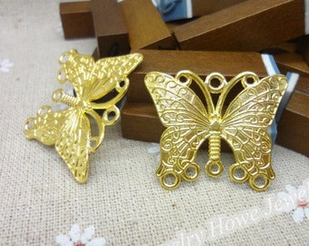 20 pcs of antique gold butterfly charm pendants 35x28mm