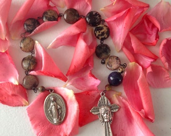 Large Rhodonite Button Gemstone Single Decade Rosary Chaplet Tenner CatholicRosary Handmade