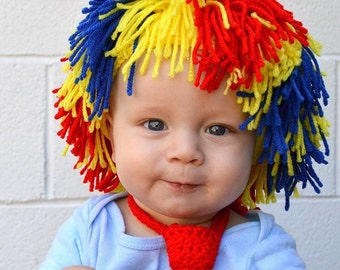 Clown Wig - Rainbow, multi-colored or solid colored clown costume accessory - red Raggedy Ann Yarn Wig - sizes newborn - adult