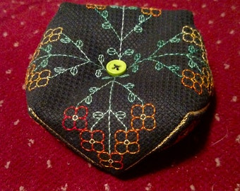 Black Floral Biscornu, Elegant, Handmade