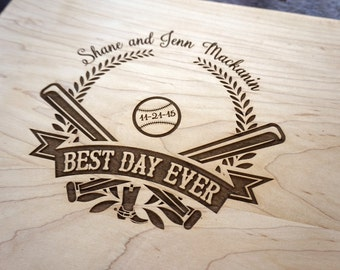 Custom Cutting Board Baseball Couple Wedding Present Personalized Family Names with Baseball Theme Gift Best Day Ever