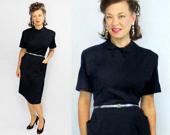 40s Dress / 1940s Dress / 40s Day Dress / 1940s Day Dress / Black Dress / WWII Dress / Cotton Day Dress / Secretary Dress / W 31""